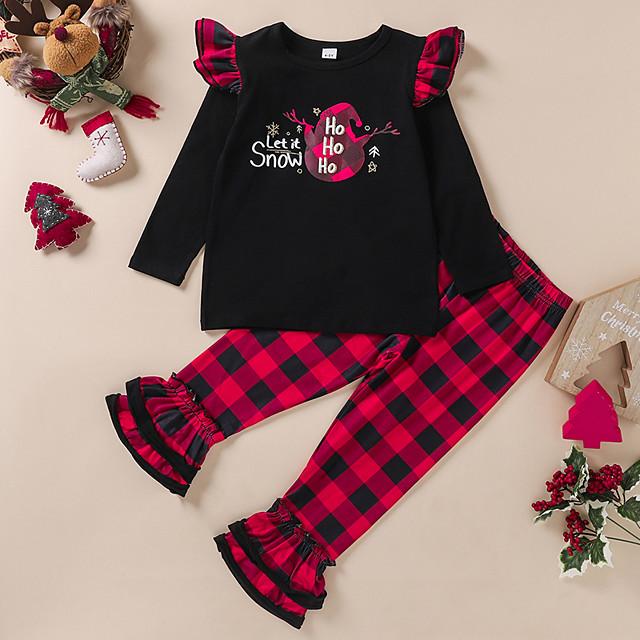 Kids Girls' Clothing Set Plaid Letter Print Long Sleeve Active Regular Black 4-12 Years