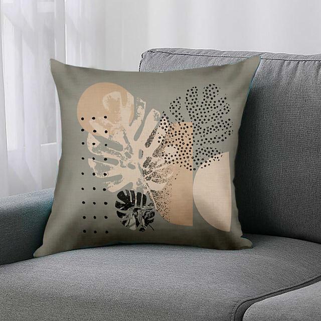 ضعف الجانب 1 قطعة غطاء وسادة ورقة طباعة 45x45 سنتيمتر الكتان لغرفة نوم أريكة
