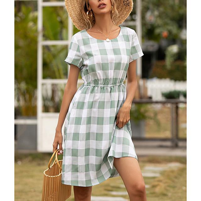 Women's A Line Dress Knee Length Dress Black And White Light Green Short Sleeve Check Print Summer Round Neck Elegant 2021 S M L XL