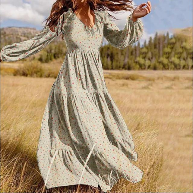 نسائي فستان شكل حرف A فستان طويل أسود أخضر البيج كم طويل ورد الربيع الصيف V رقبة كاجوال 2021 S M L XL XXL 3XL
