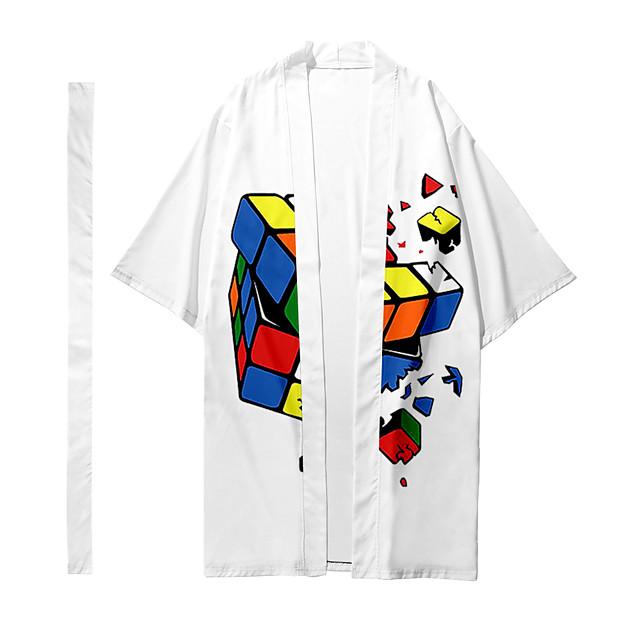 Shirt Men's Rubik's Cube 3D Print 3D Print Casual Long Sleeve Tops Casual Fashion Breathable Comfortable White