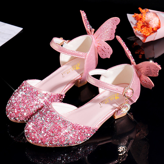 Girls' Heels Flower Girl Shoes Princess Shoes School Shoes Rubber PU Little Kids(4-7ys) Big Kids(7years +) Daily Party & Evening Walking Shoes Rhinestone Sparkling Glitter Buckle Pink Silver Fall
