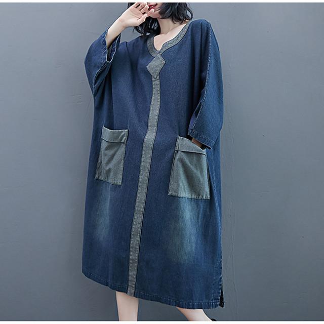 Women's Denim Dress Midi Dress Blue Long Sleeve Color Block Split Pocket Patchwork Fall Spring V Neck Casual 2021 Large size L Large size XL Large size XXL Large size M