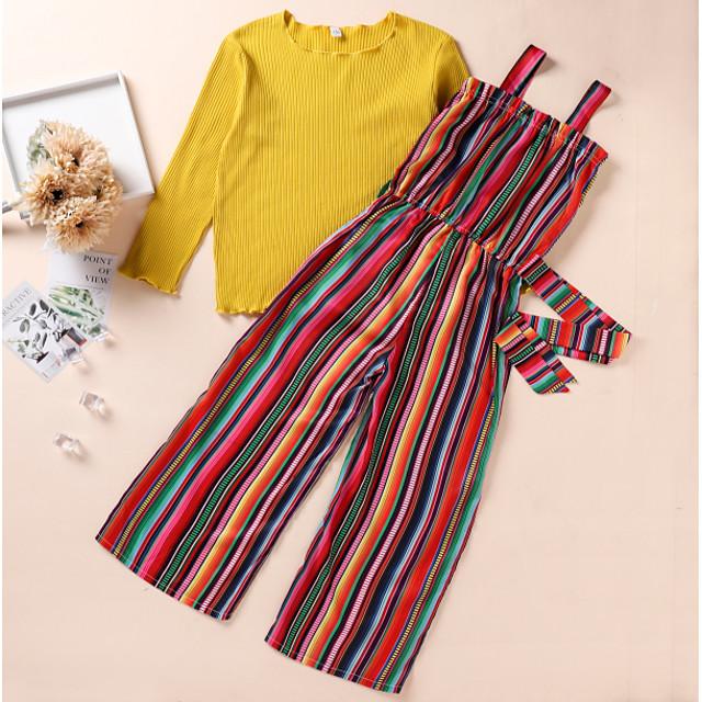 Kids Girls' Clothing Set Rainbow Print Long Sleeve Active Regular Yellow 2-8 Years