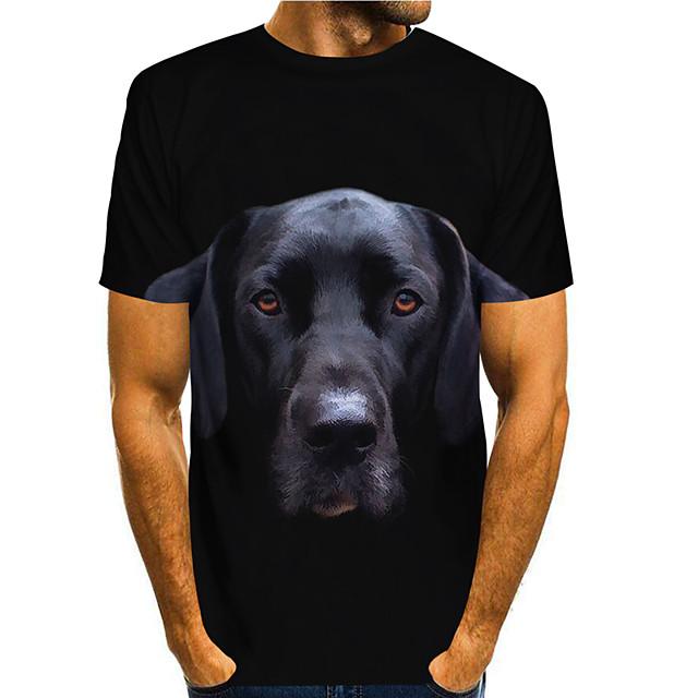 Men's T shirt 3D Print Graphic Animal 3D Print Short Sleeve Daily Tops Basic Casual Black