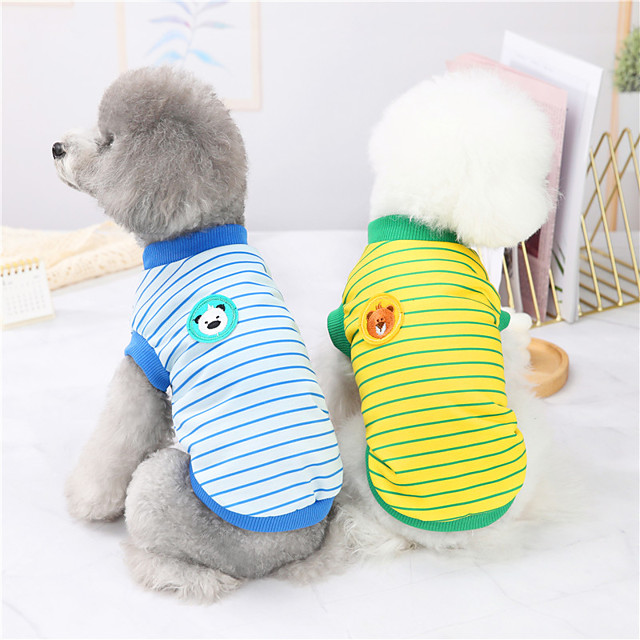 Dog Cat Shirt / T-Shirt Vest Striped Animal Basic Adorable Cute Dailywear Casual / Daily Dog Clothes Puppy Clothes Dog Outfits Breathable Yellow Red Dark Blue Costume for Girl and Boy Dog Polyster S