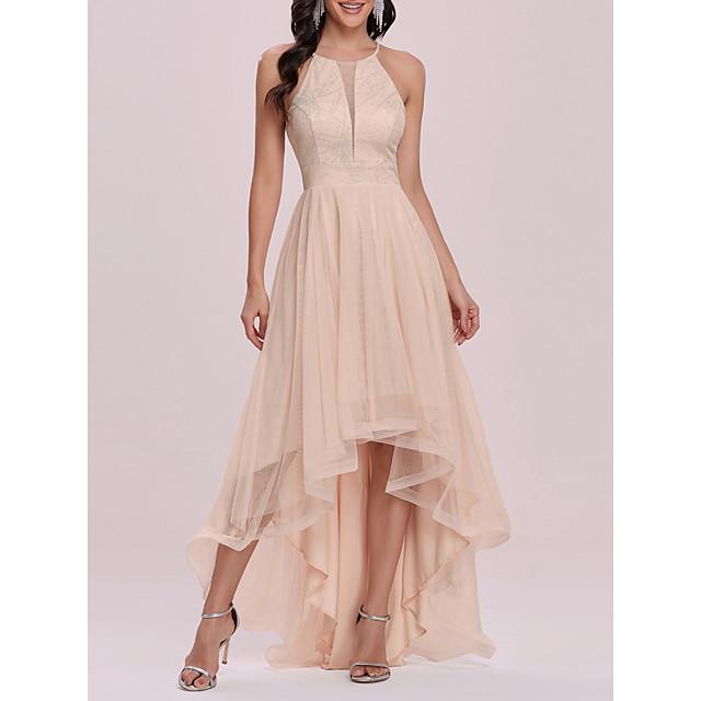 نسائي فستان شكل حرف A فستان طويل وردي بلاشيهغ بدون كم لون الصلبة الربيع الصيف أنيق 2021 S M L XL