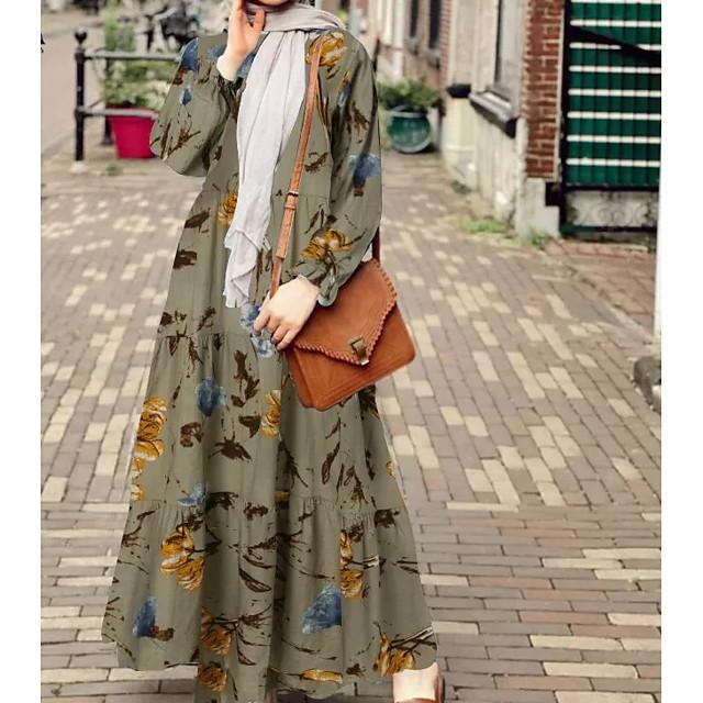 نسائي فستان سوينج فستان طويل أخضر داكن كاكي كم طويل ورد كشكش بقع الخريف الربيع رقبة دائرية أنيق كم منفوخ 2021 S M L XL XXL 3XL 4XL 5XL