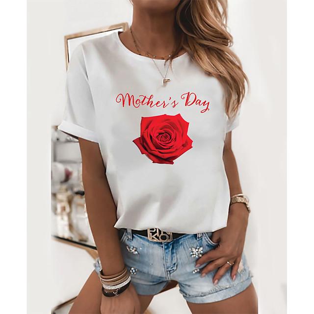Women's T shirt Graphic Floral Letter Print Round Neck Tops 100% Cotton Basic Basic Top White Black