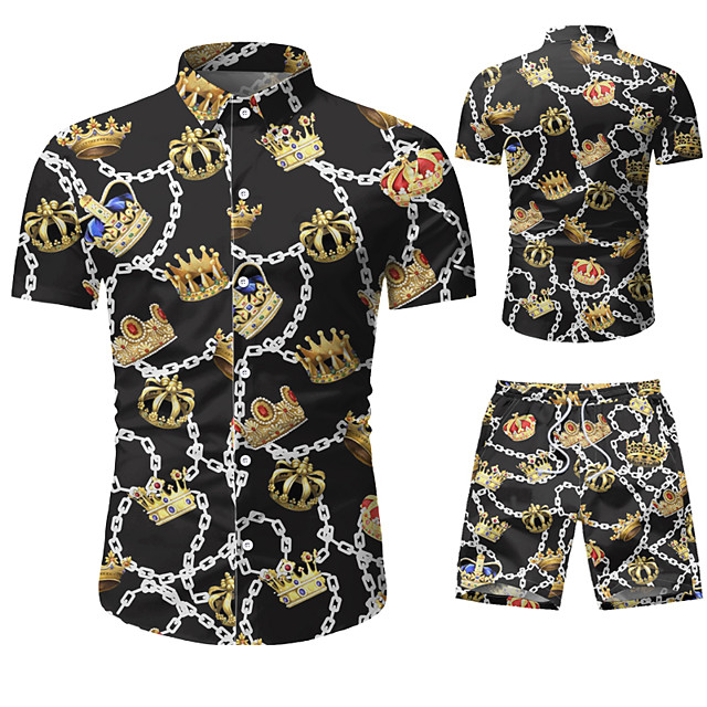 Men's Shirt Other Prints Graphic Prints Print Short Sleeve Vacation Tops Black