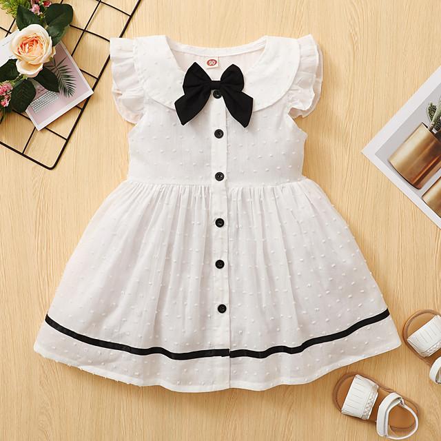 أطفال طفل صغير القليل للفتيات فستان منقط الرسم طباعة أبيض طول الركبة بدون كم نشيط فساتين الصيف عادي 2-8 سنوات