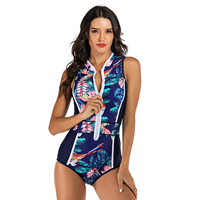 نسائي ملابس البحر قطعة واحدة ملابس السباحة سحاب ضعيف استوائي ورق أزرق طبيعي ملابس السباحة مبطن ارتداءها رقبة عالية بدلة سباحة جديد موضة مثيرة