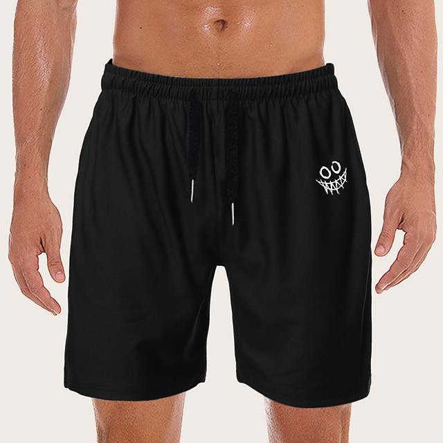 Men's Sporty Casual / Sporty Daily Holiday Shorts Pants Graphic Short Drawstring Pocket Print Black