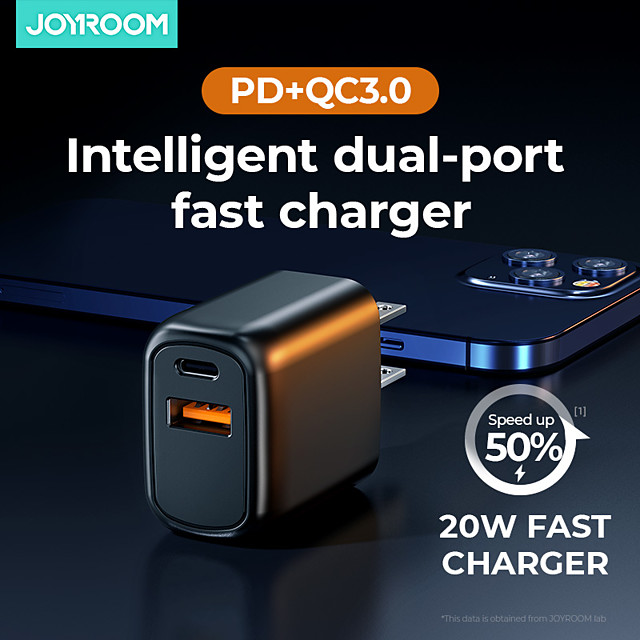 Joyroom L-QP202 20W Fast Charger Two-port (PD + QC3.0) Smart Charger for iPhone 12 Samsung S21 Xiaomi
