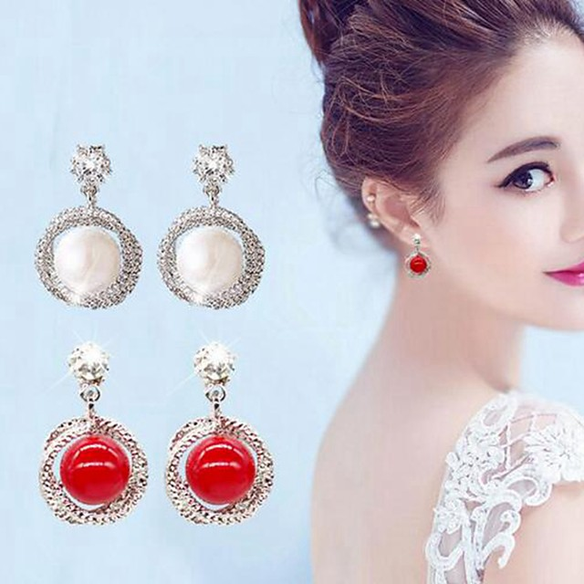 Women's Stud Earrings Stylish Romantic Sweet Imitation Pearl Earrings Jewelry White / Red For Date Festival 1 Pair