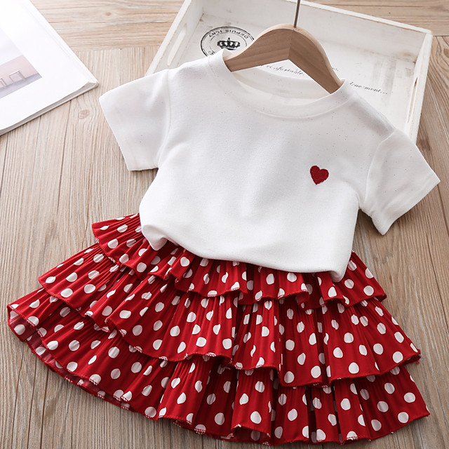 Kids Toddler Little Girls' T shirt Skirt Clothing Set Polka Dot Solid Colored Causal Hollow Out Ruffle Bow Red Short Sleeve Basic Cute Dresses Children's Day Two-piece Suit