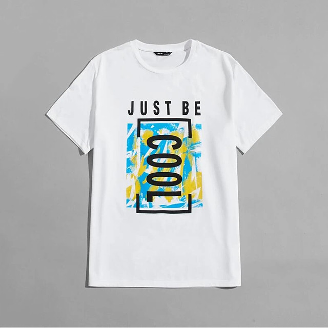 Men's Unisex T shirt Hot Stamping Letter Plus Size Print Short Sleeve Casual Tops 100% Cotton Basic Casual Fashion White