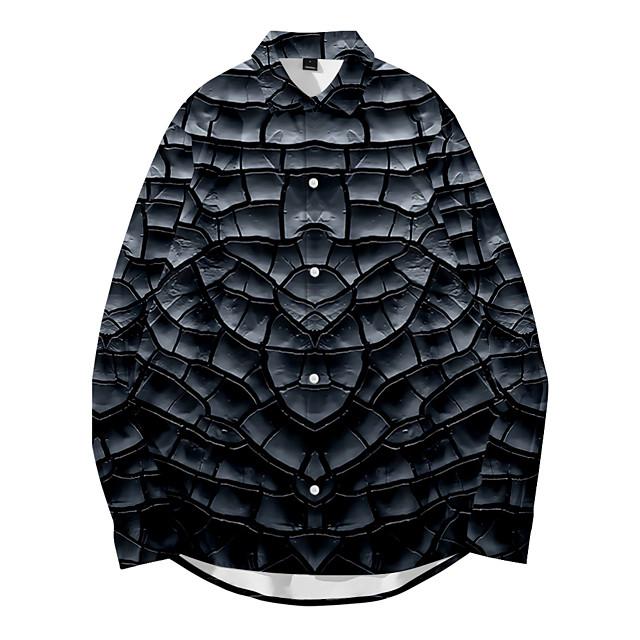 Shirt Men's Optical Illusion Crack 3D Print Button-Down 3D Print Casual Long Sleeve Tops Casual Fashion Breathable Comfortable Black