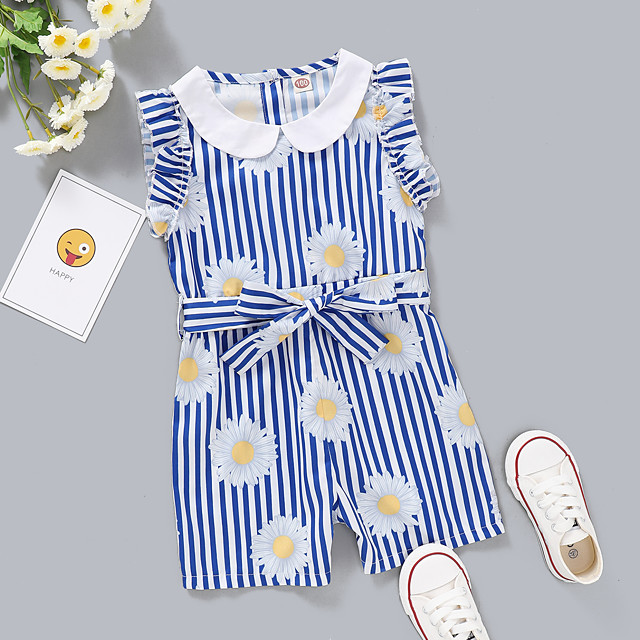 Kids Toddler Girls' Overall & Jumpsuit Daisy Graphic Print Active Blue 2-8 Years