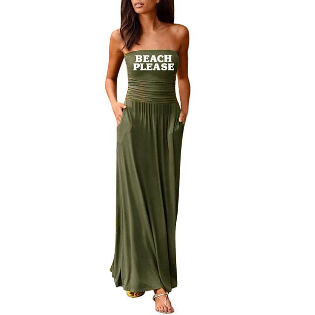 نسائي فستان شيث فستان طويل أسود أرجواني أحمر نبيذ أخضر داكن زهرة مغبرة أخضر أزرق البحرية رمادي غامق أزرق البحرية بدون كم طباعة لون الصلبة الصيف بدون حمالات رسمي 2021 S M L XL XXL