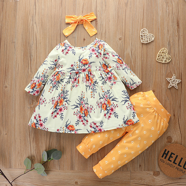 Kids Girls' Clothing Set Daily Wear Graphic Floral Bow Print Long Sleeve Active Basic Yellow