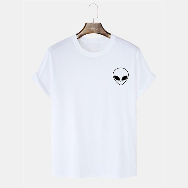 Men's Unisex T shirt Hot Stamping Graphic Prints Alien Plus Size Print Short Sleeve Daily Tops 100% Cotton Basic Casual White Black Blushing Pink