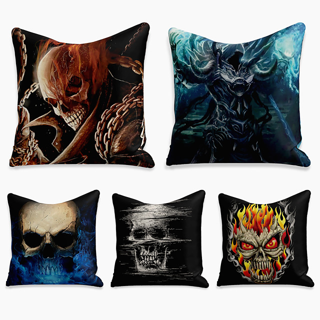 5 pcs Linen Pillow Cover, Halloween Square Zipper Polyester Traditional Classic