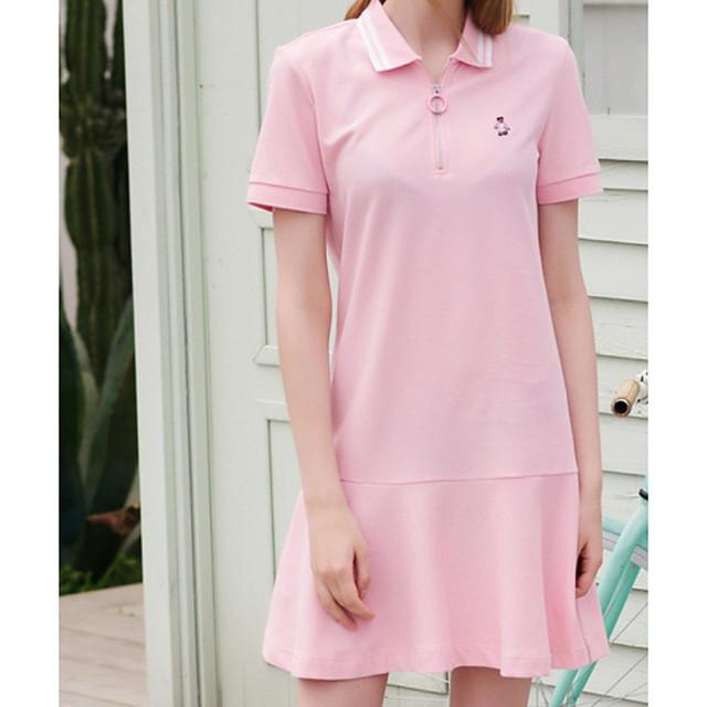 Women's T Shirt Dress Tee Dress Short Mini Dress Pink Dark Blue Short Sleeve Striped Print Summer Shirt Collar Casual Cotton 2021 M L XL XXL
