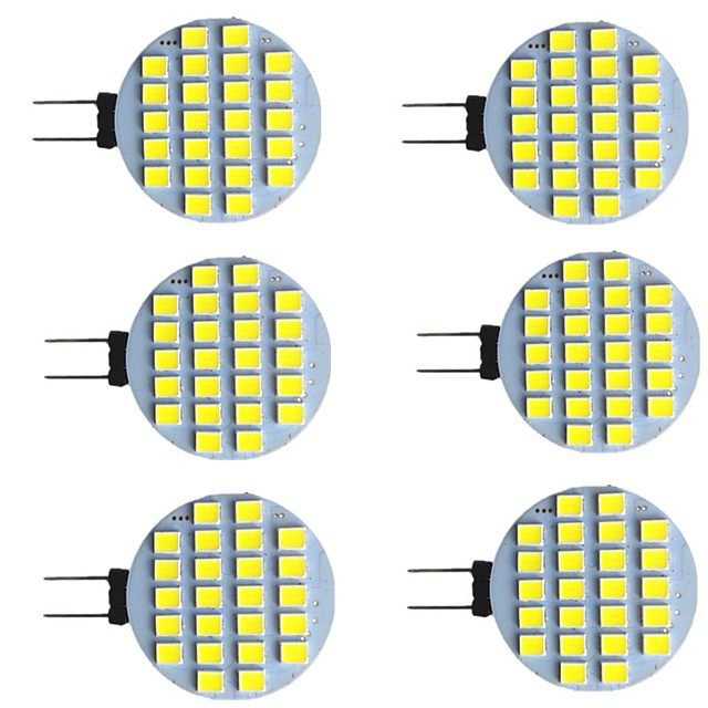 6 pièces 2 W LED à Double Broches 280 lm G4 24 Perles LED SMD 2835 Blanc Chaud Blanc 9-30 V