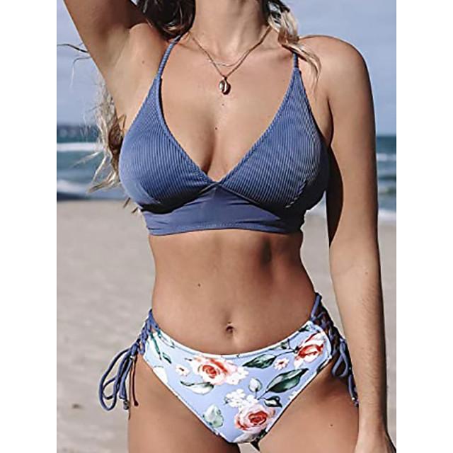 نسائي بيكيني 2 قطعة ملابس السباحة فتح الظهر ضعيف لون الصلبة ورد أزرق ملابس السباحة مبطن كروب توب مع حمالة بدلة سباحة جديد موضة مثيرة