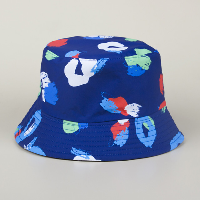 Men's Women's Fisherman Hat Hiking Cap 1 PCS Winter Outdoor Sunscreen Printing Cotton Red and White Blue+Pink White for Fishing Beach Camping / Hiking / Caving