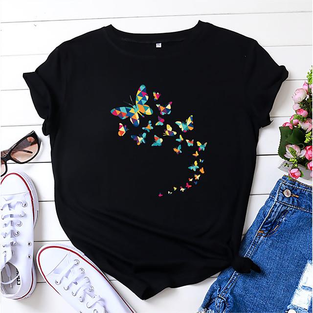 Women's T shirt Butterfly Print Round Neck Tops 100% Cotton Basic Basic Top White Black Blue