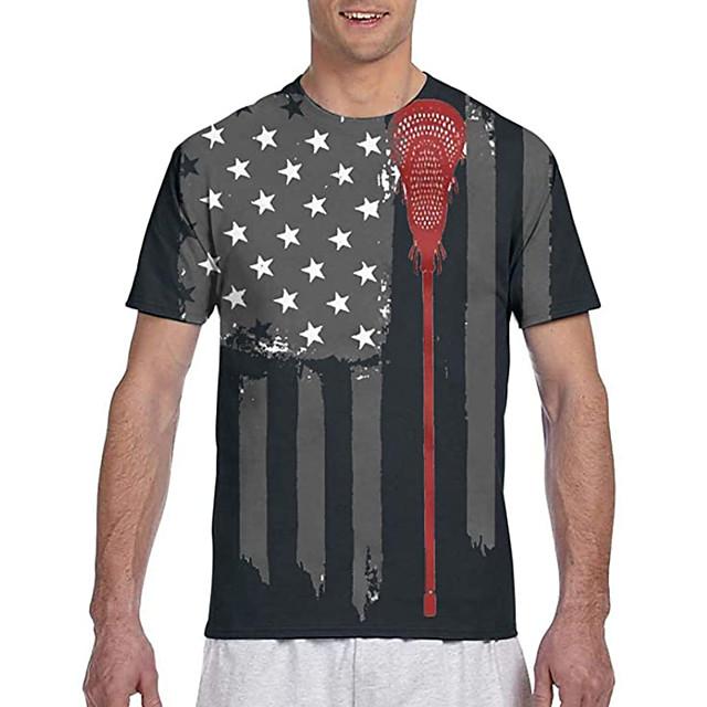 Men's Tees T shirt 3D Print Graphic Prints National Flag Print Short Sleeve Casual Tops Classic Designer Big and Tall Black