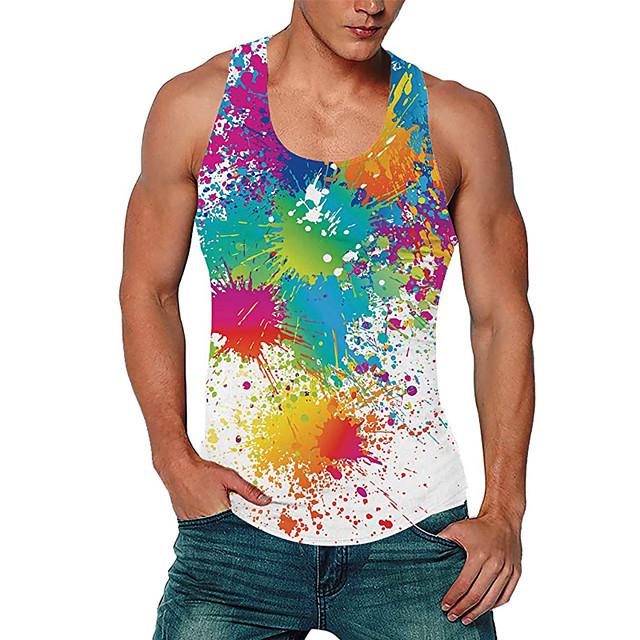 رجالي كنزة سترة قميص داخلي طباعة ثلاثية الأبعاد غني بالألوان طباعة ثلاثية الأبعاد طباعة بدون كم مناسب للبس اليومي قمم كاجوال نمط الشاطئ التقزح اللوني