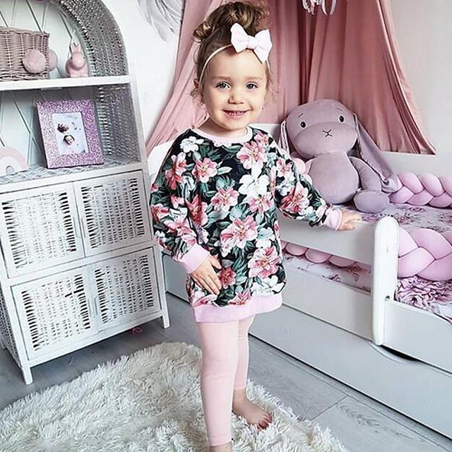 طفل صغير للفتيات مجموعة ملابس مناسب للبس اليومي ورد طباعة كم طويل أساسي عادية وردي بلاشيهغ 2-8 سنوات