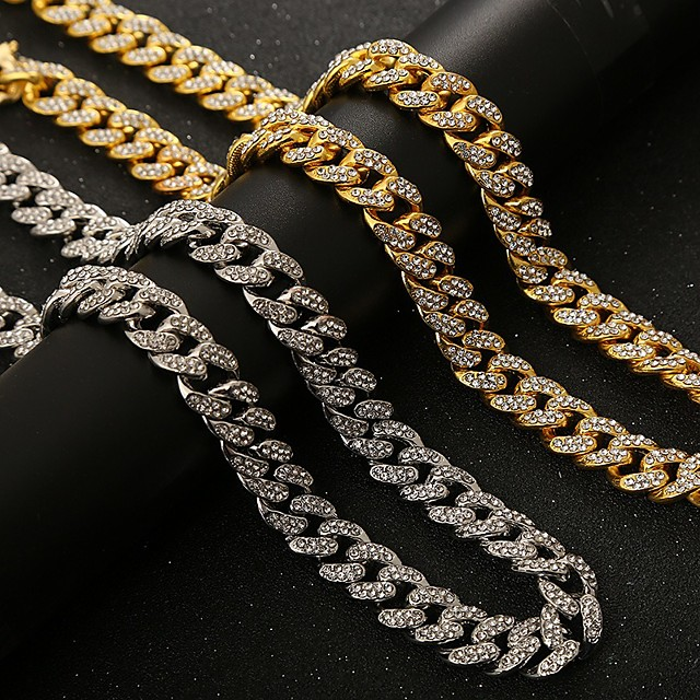 Men's Chains Necklace Hip Hop Alloy Gold Silver 45-71 cm Necklace Jewelry 1pc For Street