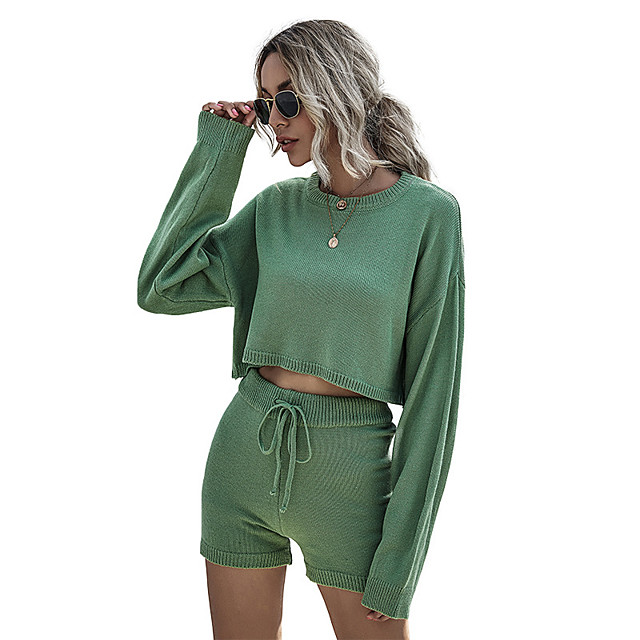 Women's Basic Streetwear Plain Daily Two Piece Set Tracksuit T shirt Loungewear Shorts Biker Shorts Drawstring Tops