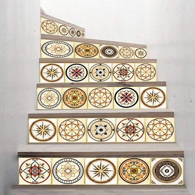 Creative 3d Staircase Stickers Mandala Pattern Diy Imitation Decorative Home Stickers Waterproof 3d Stereo Wall Stickers