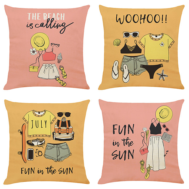 Cushion Cover 4PC Linen Soft Art Deco Square Throw Pillow Cover Cushion Case Pillowcase for Sofa Bedroom 45 x 45 cm (18 x 18 Inch) Superior Quality Machine Washable