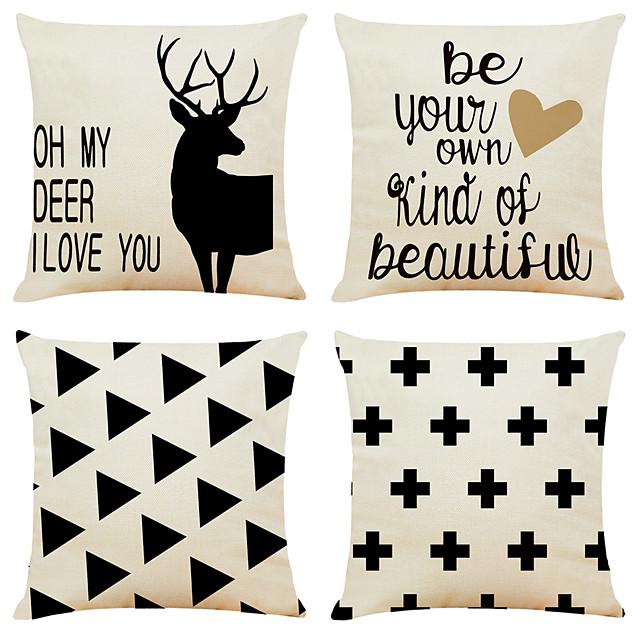 4 pcs Linen Pillow Cover, Geometric Simple Classic Square Zipper Traditional Classic