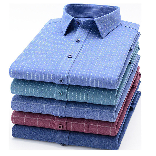 Men's Shirt Plaid Button-Down Long Sleeve Casual Tops Business Simple A B C