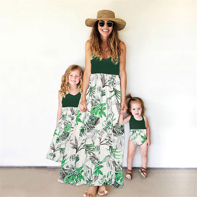 Mommy and Me Family Matching Outfits Dress Graphic Sleeveless Print Light Green Maxi Summer