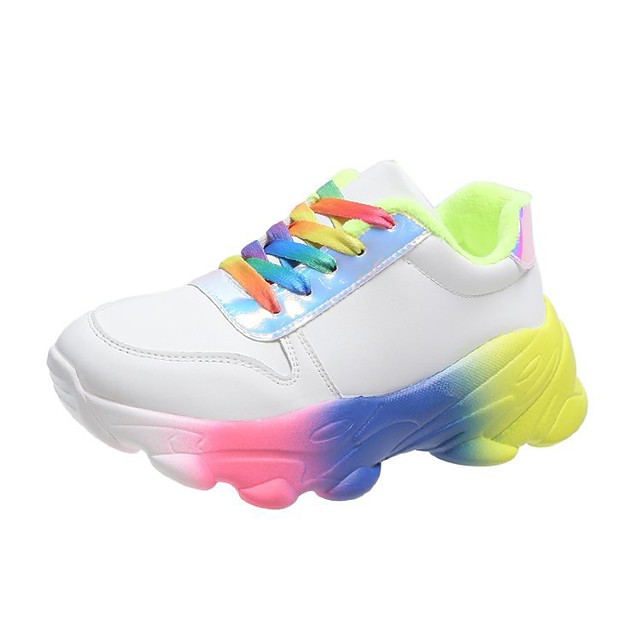 Women's Trainers Athletic Shoes Flat Heel Round Toe Casual Daily PU Color Block White Black