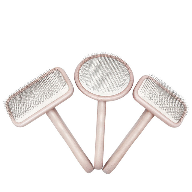 Dog Cat Grooming Cleaning Pet Grooming Brush Wooden Stainless steel Comb Dog Clean Supply Pet Hair Remover Massage Removing Matted Tangled Self Cleaning Pet Grooming Supplies Pink