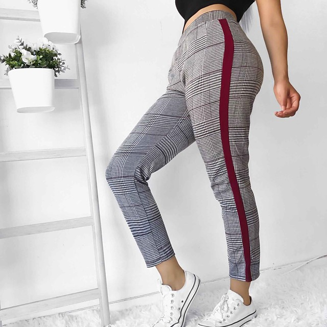 Women's Stylish Chino Comfort Casual Daily Chinos Pants Color Block Full Length Elastic Waist Red Yellow