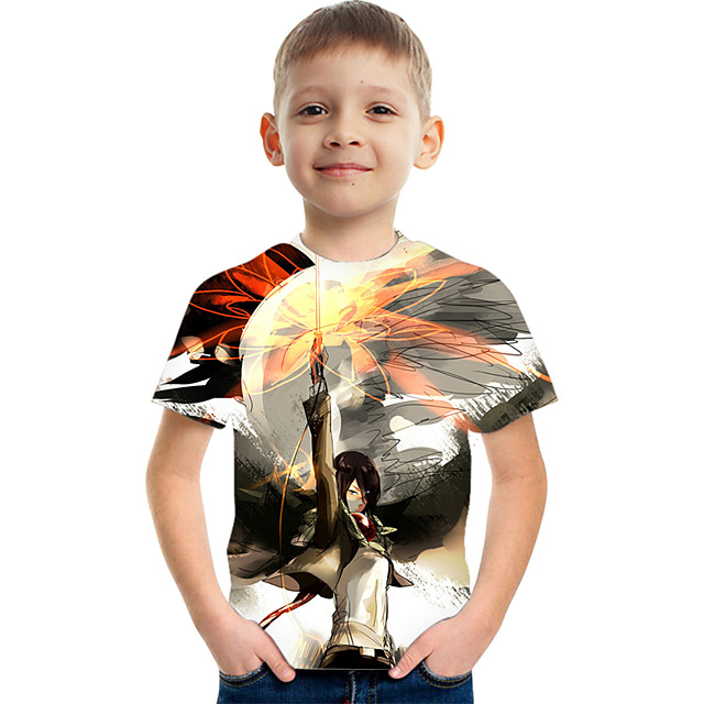 Kids Boys' T shirt Tee Short Sleeve Graphic Children Tops Active Rainbow 3-12 Years