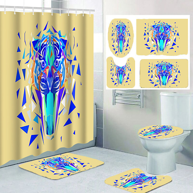 Geometric Shape Tiger Head Pattern Printing Bathroom Shower Curtain Leisure Toilet Four-piece Set