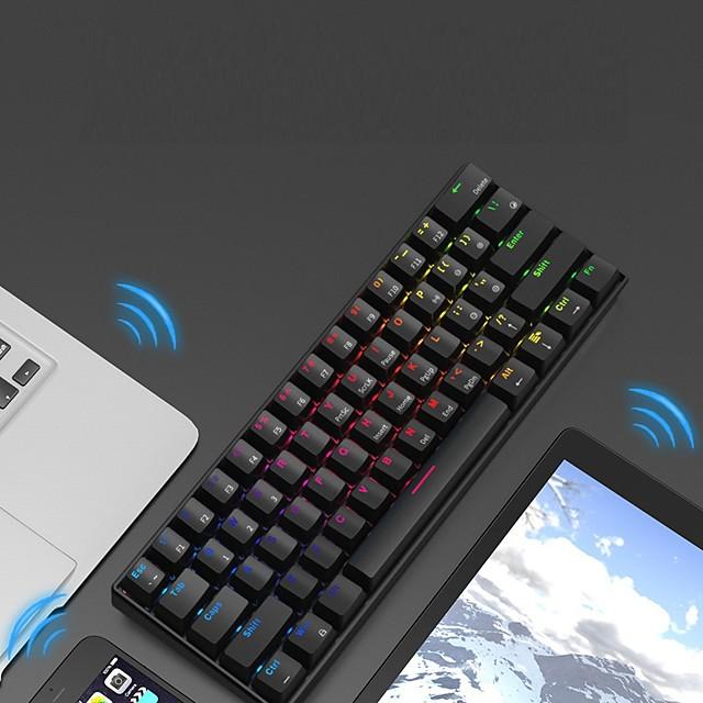 AJAZZ i610T بلوتوث اللاسلكية USB السلكية وضع مزدوج لوحة المفاتيح الميكانيكية حداثة الألعاب RGB الخلفية 61 pcs مفاتيح