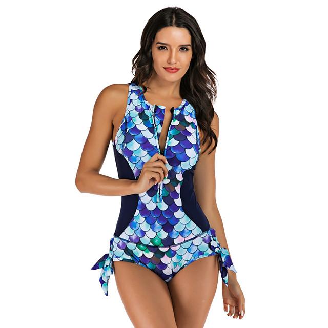 نسائي راش جارد غوص ملابس السباحة سحاب ضعيف ألوان متناوبة نقطة أزرق ملابس السباحة مبطن ارتداءها رقبة عالية بدلة سباحة جديد موضة مثيرة