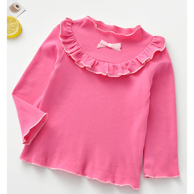 Kids Girls' Blouse Long Sleeve Patchwork Bow Children Spring &  Fall Tops Active Regular Fit White Purple Red 3-8 Years